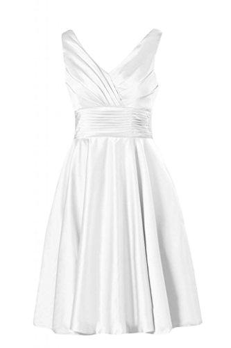 scollo Homecoming V in Gowns a con Cocktail Bridesmaid White corte e raso maniche da Sunvary qPftW