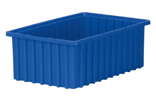 Akro-Mils 33166 Akro-Grid Slotted Divider Plastic Tote Box, 16-1/2-Inch Length by 10-7/8-Inch Width by 6-Inch Height, Case of 8, Blue by Akro-Mils
