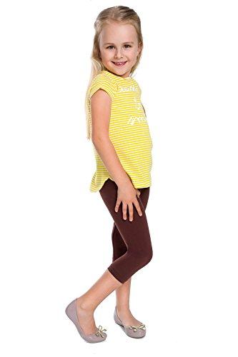 Futuro Fashion Capri Girls Cotton Leggings Plain Colours Cropped Pants Age 2-13 Brown