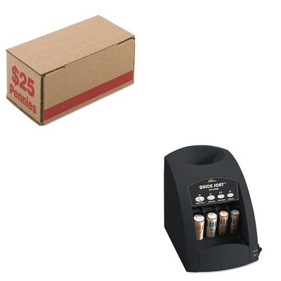 KITPMC61001RSICO1000 - Value Kit - Pm Company Corrugated Cardboard Coin Storage w/Denomination Printed On Side (PMC61001) and Royal Sovereign Fast Sort CO-1000 One-Row Coin Sorter (RSICO1000) by PM Company
