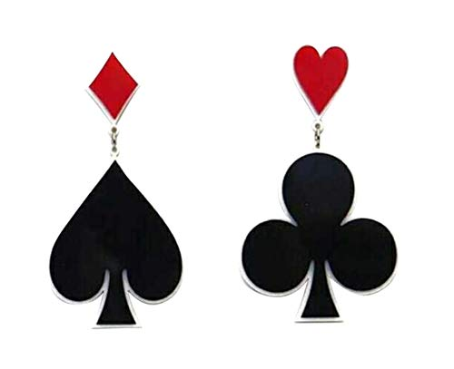 CutieJewelry Dangle Poker Party Unique Players Big Card Earrings (Spades) ()
