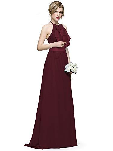 Neck Silk Dress Halter (Ever-Pretty Women Maxi Formal Halter Neck Holder Backless Ruffles Chiffon Bridesmaids Dress 6US Burgundy)