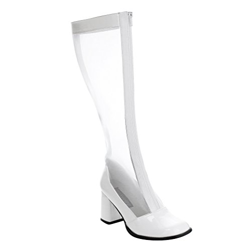 Womens White Knee High Boots Mesh Go Go Boots Zipper Stretch Block 3 Inch Heels Size: 7