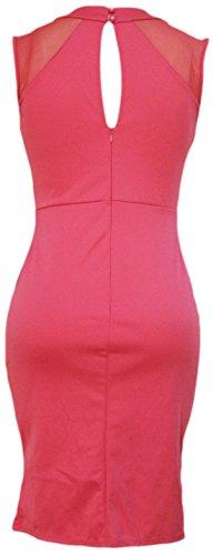 erdbeerloft - Damen Midi Dress Kleid unifarbenen Patchwork Style mit Netzteil, M-L, 38-40, Rosa