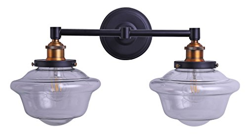 Lavagna 2 Light LED Bathroom Vanity Black with Clear Glass Linea di Liara (Antique White Two Light Sconce)