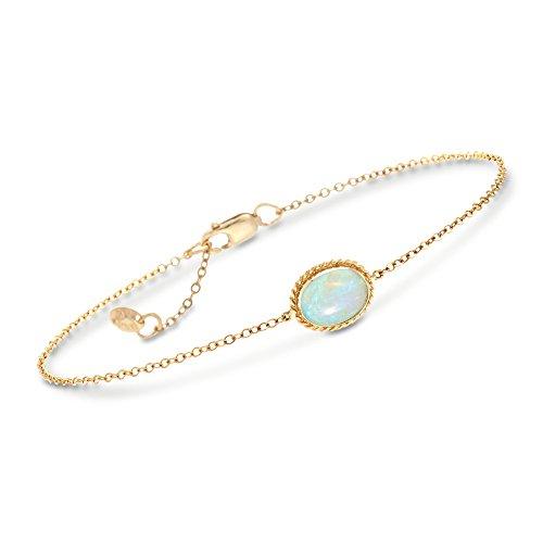 Gold Opal Bracelet - Ross-Simons Oval Opal Roped Frame Bracelet in 14kt Yellow Gold