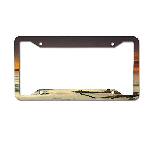 huizehonghong Sunset Over The Island Dry Tree Distant Hills Metal License Plate Tag Frame Decoration for Car Woman/Man,Cute License Plate Frame 2 Holes ()