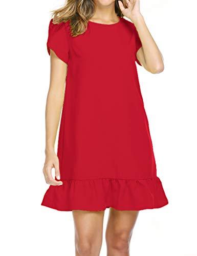 Naggoo Women's Tunic Dress Casual Short Sleeve Mini Swing Dress with Keyhole Back Red Large ()