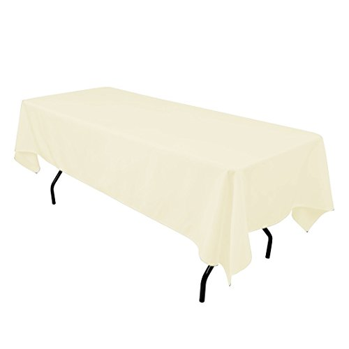 Gee Di Moda Rectangle Tablecloth - 60 x 102 Inch - Ivory Rectangular Table Cloth for 6 Foot Table in Washable Polyester - Great for Buffet Table, Parties, Holiday Dinner, Wedding & More ()