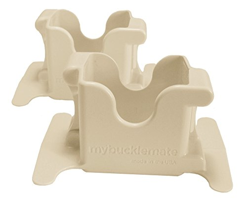 (MyBuckleMate Seat Belt Buckle Holders - Keep Floppy Back Seat Buckles Securely Propped Up for Easy Buckling, Beige - (Set of 2))