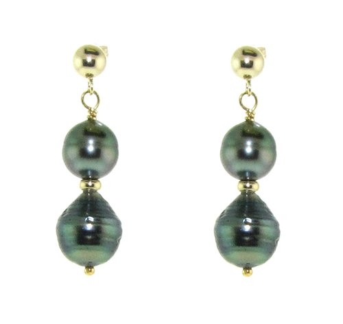 14k Yellow Gold 8-10mm Black Baroque Tahitian Cultured High Luster Pearl Stud Dangle Earrings (Pearl Baroque Saltwater)