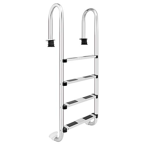 Goujxcy Pool Ladder,4-Step Swimming Pool Ladder for In Ground Pools Heavy Duty 4-Step Stainless Steel Pool Step Ladder with Easy Mount Legs