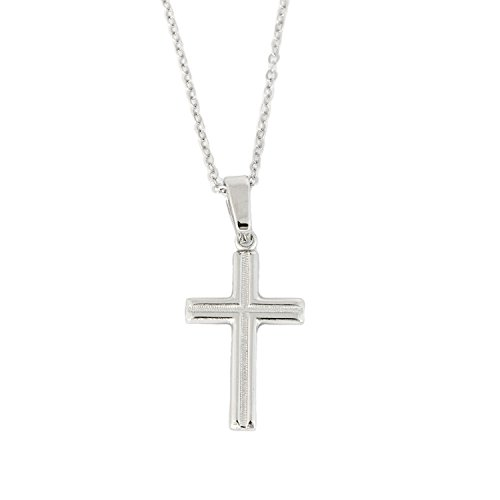 Beauniq Solid Sterling Silver Rhodium Plated Small Diamond-Cut Textured Plain Cross Pendant Necklace - 24