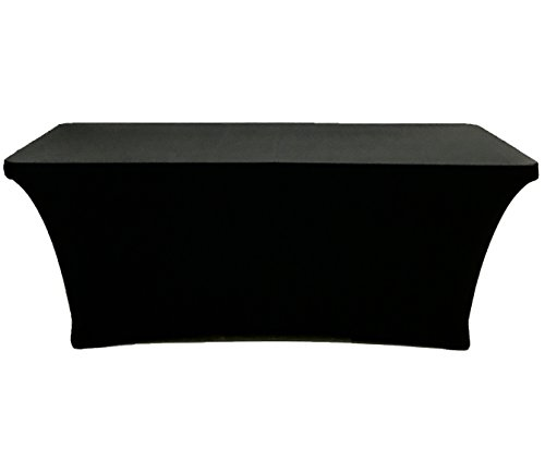 CB Accessories Stretch Table Cover 4ft Rectangular Fitted Spandex Full Length Tablecloth for Weddings, Conferences and Holiday Party (4 ft, Black) by CB Accessories