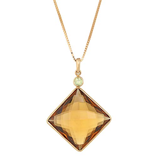Lavari - 16 mm Square Shaped Smoky Quartz 3MM Peridot 14K Yellow Gold Pendant