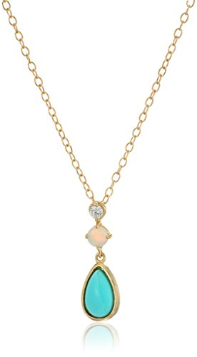 Pear Turquoise Necklace - Gold Plated Sterling Silver Turquoise and Opal Pear Shape Pendant Necklace, 18
