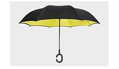 baieshiji doble capa paraguas invertido, ambrellaok Creative Coches Reverse paraguas recto paraguas de viaje impermeable