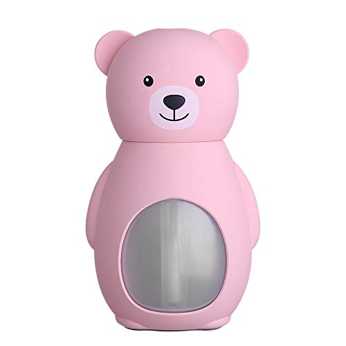 IslandseLamp Humidifier Cute Bear LED Humidifier Air Diffuser Purifier Atomizer (Pink)