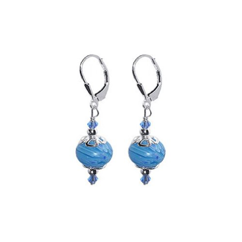 Handmade Bead Earrings - 925 Sterling Silver Leverback Drop Earrings with Blue Glass Beads Handmade with Swarovski Crystals