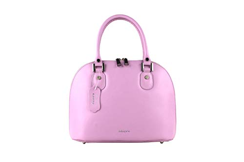 ikkiomi Domed satchel La.0906 Chrome Leather Pure Color yellow hand Bag Pink