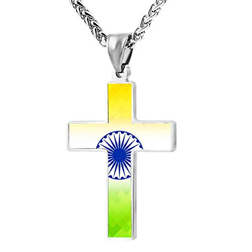 Lindsum Cross Necklace Key Indian Flag Style Holder Chain Pendant Religious  Christian Jewelry Chokers