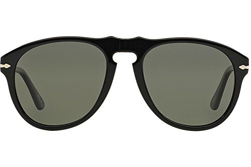 Persol Men's Classic Sunglasses, Black/Green Polar, One Size (Sunglasses Persol)