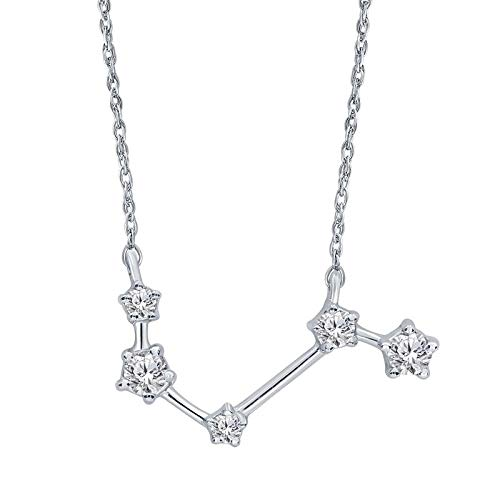 Triss Jewelry 1/5 Cttw Diamond Aries Zodiac Sign Pendant Necklace For Women in Sterling Silver