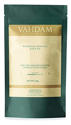 Vahdam Premium CTC Assam Black Tea- English Breakfast Tea| Full Bodied, Bold, Magnificent & Delicious| Irish Breakfast Tea for the Connoisseur in You| Brews the Perfect Kombucha (8 Ounces, 226 grams) ()