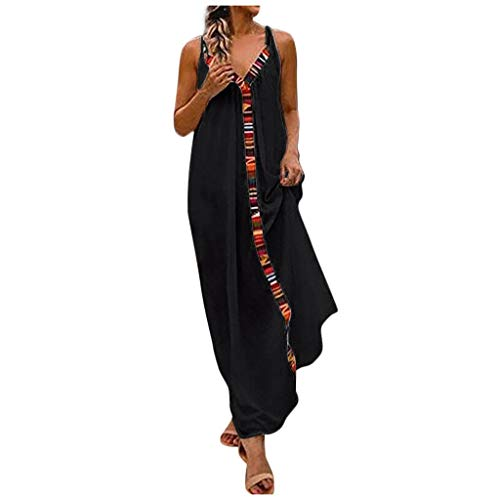 【MOHOLL】 Women's Sleeveless Floral Print Deep V Neck Sexy Solid Casual Cotton Beach Maxi Dress Black ()