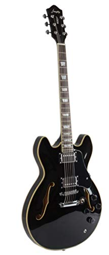 Full Size Hollow body Electric Guitar with Cable, and Picks (Black)