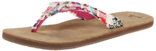 Sanuk Women's Fraidy Cat Flip Flop,Natural Poncho,5 M US