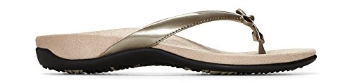 Vionic Women's Rest Bella II Toepost Sandal - Ladies Flip Flop with Concealed Orthotic Arch Support Pewter 8 W US