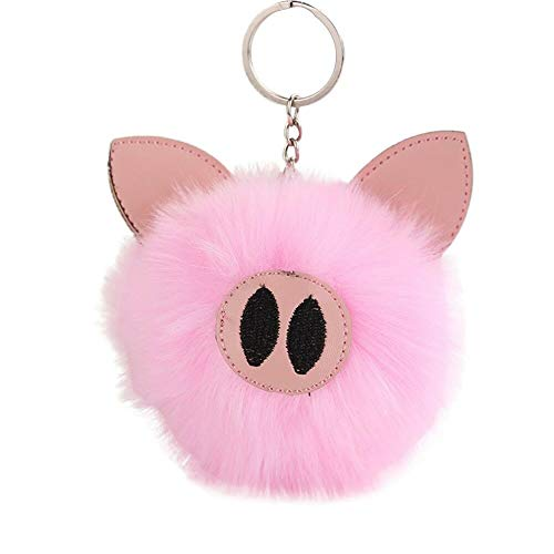 Cute Pom Charm Keychain Soft Fluffy Faux Pig Shape Pendant Handbag Car Key Ring (Colour - Pink)