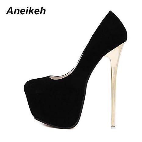 4a99e4ccc78 Amazon.com  HuWang Pumps Wedding Women Fetish Shoes Concise Woman Latform  Very High Heel Stripper Flock 16 cm Size 34-40  Garden   Outdoor