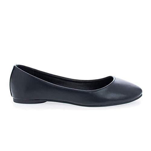 Soda Comfortable Basic Shoes Women Ballet Flat Round Toe Gel Insole KREME Black PU 6.5 by Soda