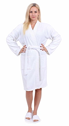 Turkuoise Women's Terry Cloth Robe Turkish Cotton Terry Kimono Collar (Small, White)