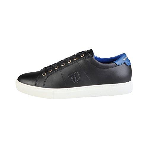 TRUSSARDI JEANS Scarpe Unisex Sneaker Pelle Nera Fondo Cassetta 17TJ01