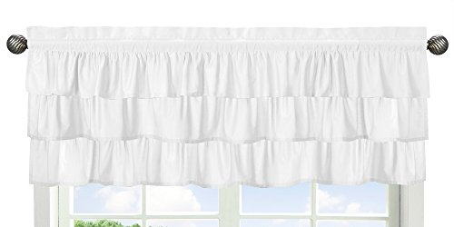 Solid Color White Shabby Chic Ruffle Window Treatment Valanc