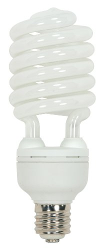 Satco S7389 65 Watt (300 Watt) 4300 Lumens Hi-Pro Spiral CFL Daylight White 5000K Mogul Base 120 Volt Light Bulb (E39 Coated Vapor Base Mercury)