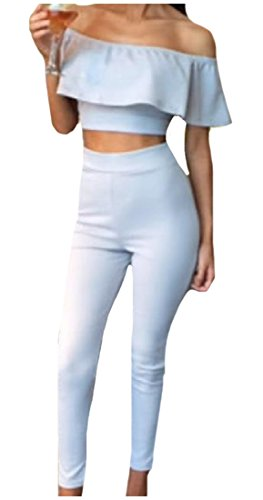 eb37fdd32a6 Winwinus Women Backless 2-Pieces Crop Pullover Strapless Tops and Pants
