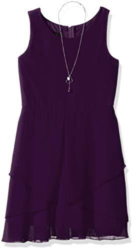 Amy Byer Girls' Big Simply Elegant Sleeveless Chiffon Dress, Purple -