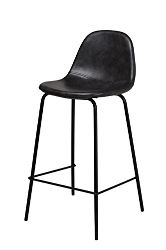 Smart Counter Stool in Distressed Black Leather Kitchen Counter High Four Legged with backs dining chair wine stool midcentury modern style art deco french style upholstery family counter stool