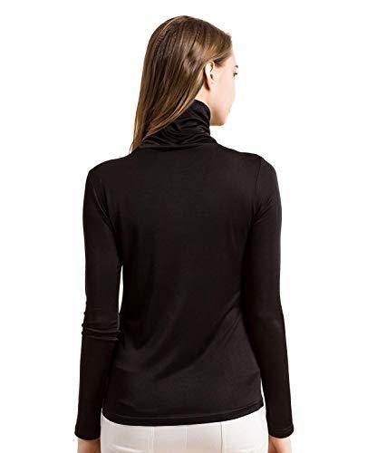 T Tinta Slim Donna Camicetta Seta shirt Schwarz Elegante Fit Unita Maglia Autunno Lunghe Lunga Da Manica Bolawoo Camicia In Marca Di A Maniche Mode qxnAXT