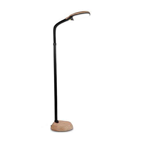 Brightech Litespan LED Reading and Craft Floor Lamp - Dimmable Full Spectrum Natural Daylight Sunlight LED Standing Light with Gooseneck for Living Room Sewing Bedroom Office Task – Natural Wood
