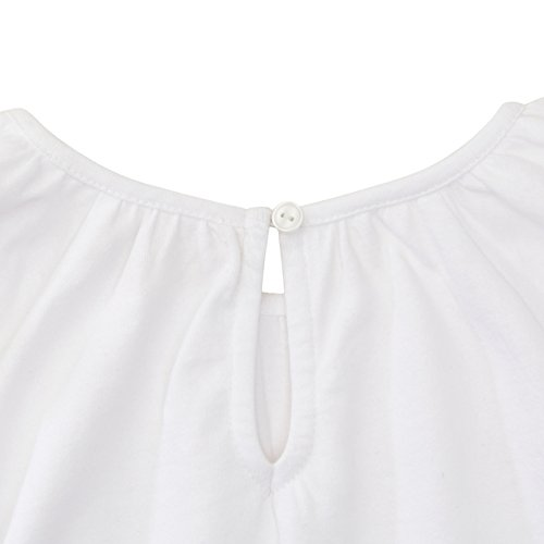 Hope & Henry Girls' White Embroidered Dot Lace Trim Flutter Top
