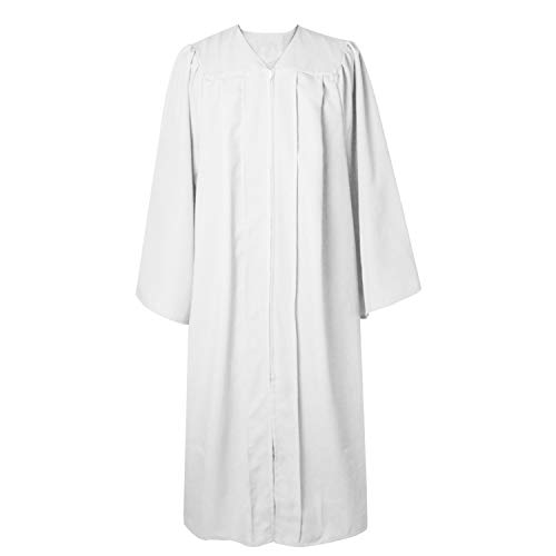 GGS Unisex Adult Baptism Choir Robe Matte Finish Graduation Gown Only with Open Sleeves for Church White 51FF