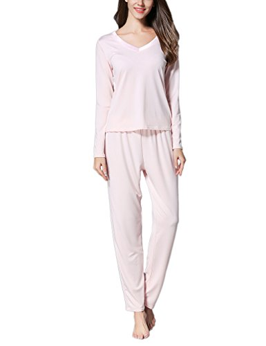 GUANYY Women's V-Neck Sleepwear Long Sleeves Pajama Set With Pants Pink Small
