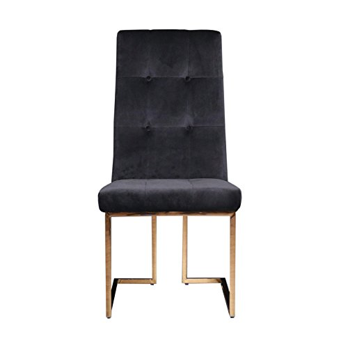 RMG Fine Imports Cameron Upholstered Dining Chair - Soft Velvet Upholstery Dining Chairs - Electroplated Steel Frame - Set of 8 in Black