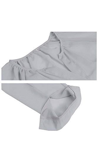 Fasumava Grey Lache Mousseline Printemps Manches Les Longues Occasionnel Au Automne Solide Fx1FwSnr