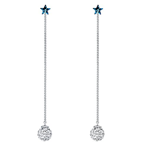 (BriLove Women 925 Sterling Silver CZ Long Chain Shamballa Bead With Star Earrings Jacket Adorned with Swarovski Crystals Bermuda Blue)